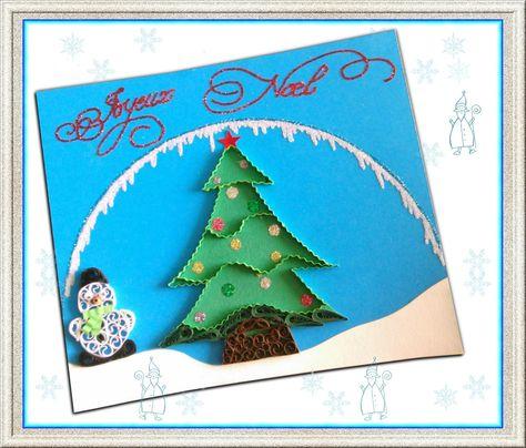 Carte de Noël quilling sur papier canson bleu : Cartes par la