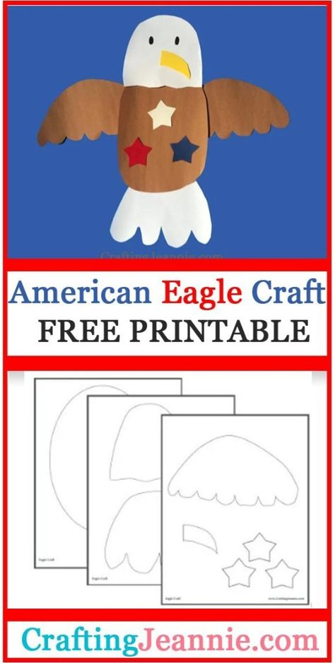 Veterans Day For Kids, Veterans Day Activities, Preschool Crafts, Preschool Activities, Presidents Day Kindergarten Crafts, Crafts For Seniors, Crafts For Kids, Summer Crafts, Eagle Craft