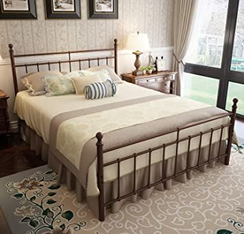 Queen Platform Metal Bed Frame With Headboard And Footboard