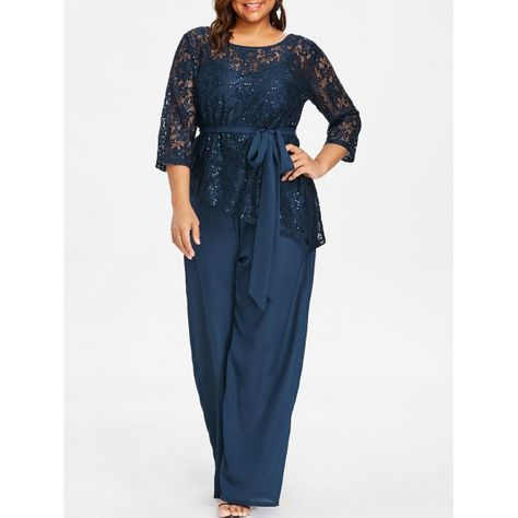 2f32bd9d8fc4 Plus Size Wide Leg Jumpsuit With Lace Blouse In Deep Blue L  plussize   plussizefashion  plussizeoutfits  womensfashion  afflink  womenswear   fashion ...