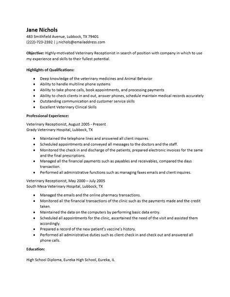 resume examples veterinary receptionist  veterinary