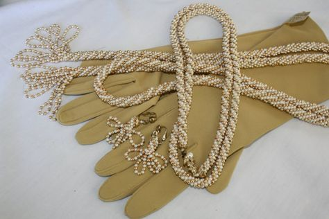 Vintage 50s 60s Faux Pearl Gold Rounds Beads by RomantiqueTouch, $28.00