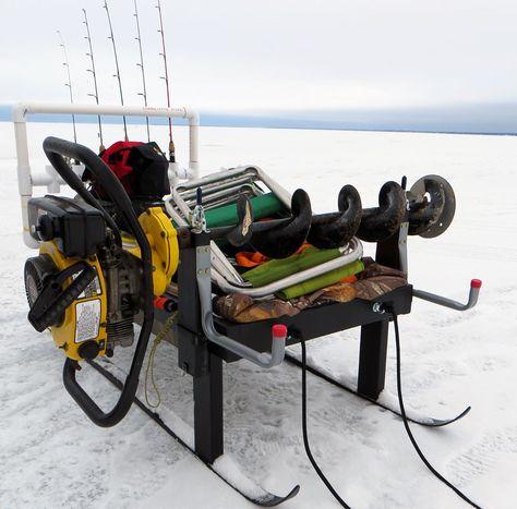 Ice Fishing Sled Auger Mount Rod Rack Ice Fishing House