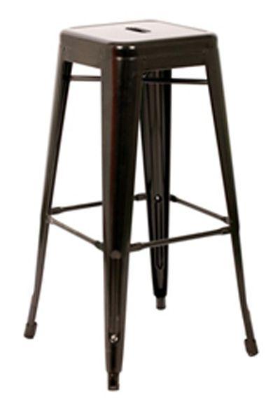 Galvanized Steel Black Indoor Outdoor Stackable Backless Bar Stool