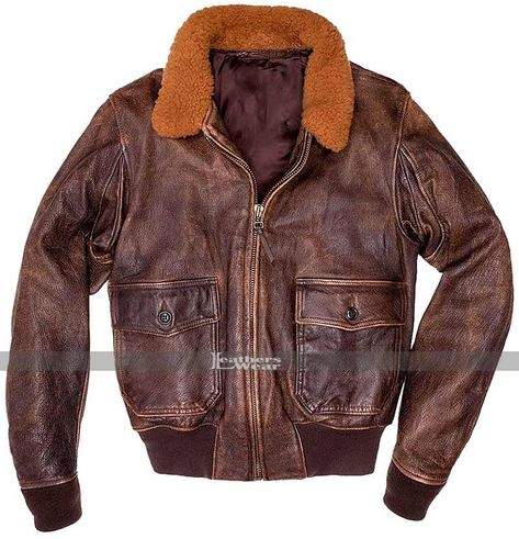 Mens G1 Military Navy Force Flight Aviator Fur Collar Bomber Distresed Brown Leather Jacket