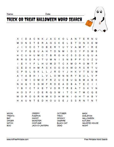 Free Printable Trick Or Treat Halloween Word Search Halloween Words Halloween Word Search Halloween Printables Free