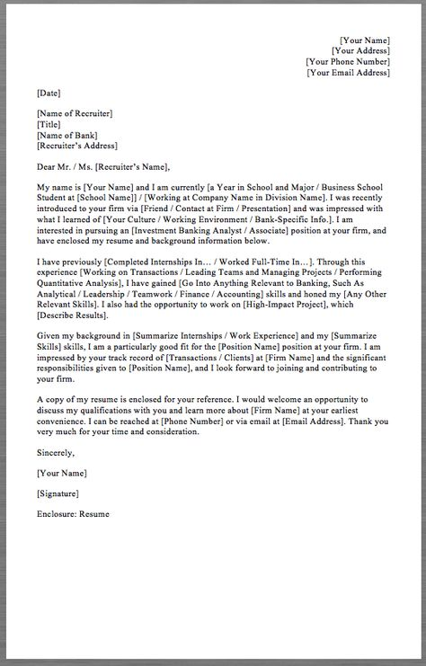 Investment Banking Cover Letter Template Your Name Your Address - phone number template