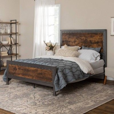 Queen Size Industrial Wood And Metal Bed Brown Saracina Home In 2020 With Images Wood Bed Frame Queen Wood Bed Frame Queen Size Bed Frames