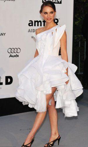 White Sculptural Dress Fash Natalie Portman Style Red Carpet