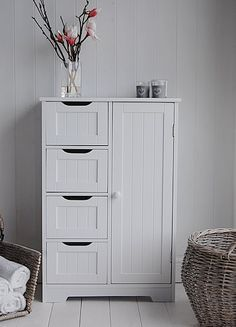Freestanding Bathroom Cabinet - White bathroom Storage. & White Wooden Storage Cabinet with Drawers and Door - bathroom ...