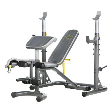 Gold S Gym Xrs 20 Adjustable Olympic Workout Bench With Squat Rack Leg Extension Preacher Curl And Weight Storage Walmart Com Weight Benches Golds Gym Olympic Weights