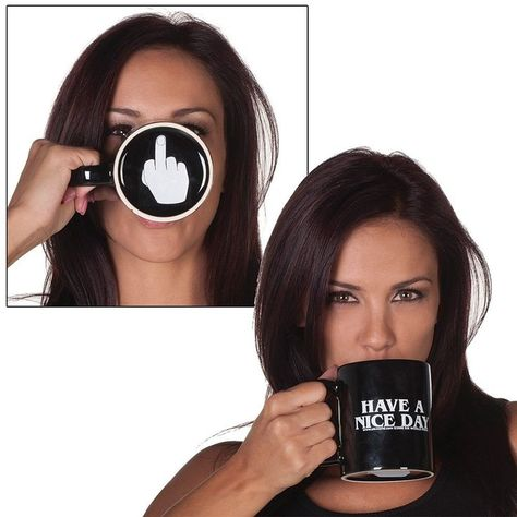 Have a Nice Day Coffee Cup Middle Finger Funny Cup Creative Mug Cup for Coffee Milk Tea Black White Mug