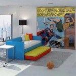 Comic bedroom.