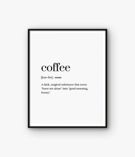 Coffee Print Coffee Definition Print Coffee Poster Coffee | Etsy