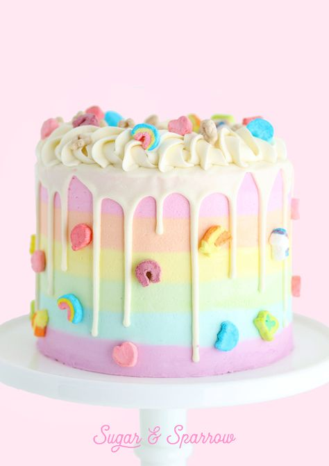 The prettiest Lucky Charms cake with rainbow striped cereal milk buttercream! I created a Lucky Charms version of my Mil Pretty Cakes, Cute Cakes, Yummy Cakes, Bolo Cake, Un Cake, Pastel Cakes, Colorful Cakes, Bolo Sofia, Beautiful Birthday Cakes