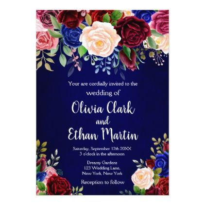 Burgundy And Blue Roses On Royal Blue Background Invitation