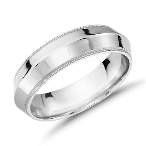 Wedding Bands Classic Bands Milgrain Bands Stainless Steel Polished Textured Edged 8mm Ring Size 9
