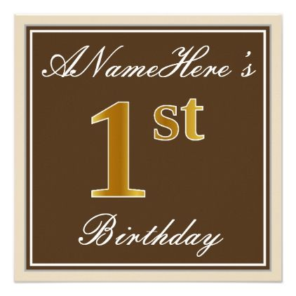 Elegant Brown Faux Gold 1st Birthday Name Card Birthday Cards