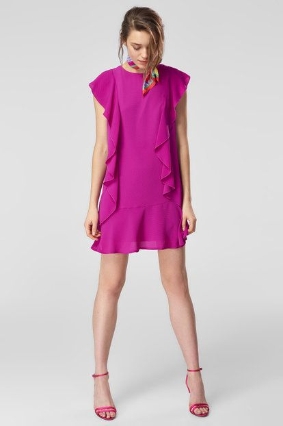 Mor Volanli Elbise Elbise The Dress Moda Stilleri