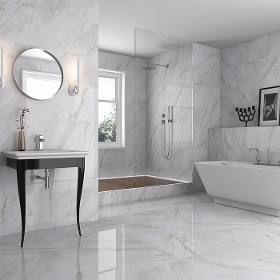 Carrara White Porcelanato Superbrillante Rectificado Banos De