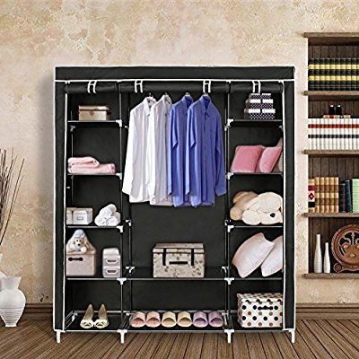 Amazon Com Blissun 59 Portable Clothes Closet Non Woven Fabric Wardrobe Storage Organizer Home Ki Closet Clothes Storage Wardrobe Storage Portable Closet
