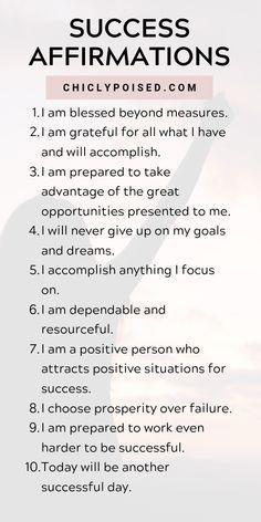 Positive Affirmations List for Success #affirmations #positiveaffirmations #positivevibes #affirmationspositive #successaffirmations