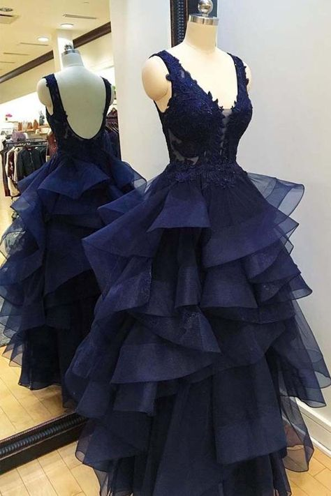 7f6b45587a46 V NECK NAVY BLUE BACKLESS PROM DRESSES EVENING GOWNS DRESS TP0851 #backless  #prom #tulle #tirdresses