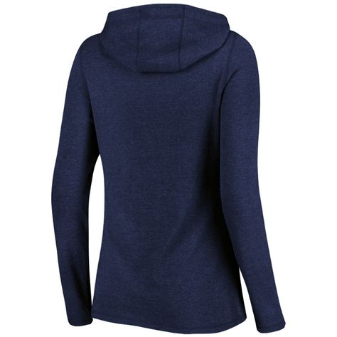 Women's Majestic Navy Atlanta Braves Winning Side Long Sleeve Tri-Blend Cowl Hoodie