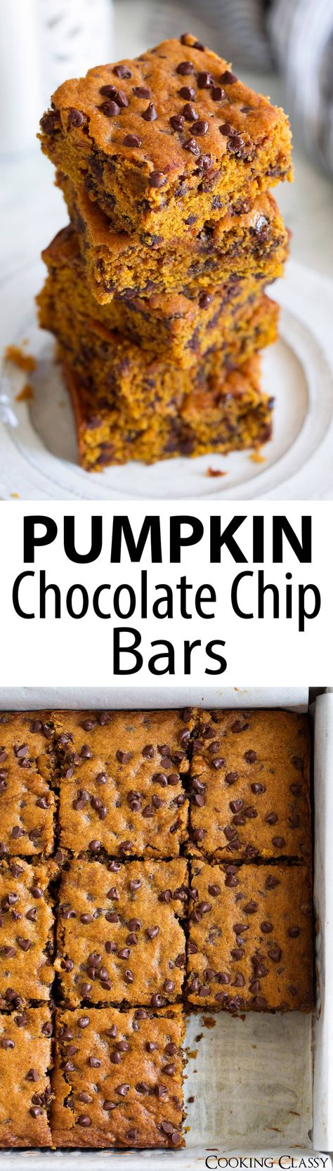 Pumpkin Chocolate Chips Bars - these are the perfect autumn treat! Soft, moist and delicious flavor! Love those bits of mini chocolate chips. #pumpkinbars #chocolatechip #fall #dessert #thanksgiving #recipe #cookingclassy