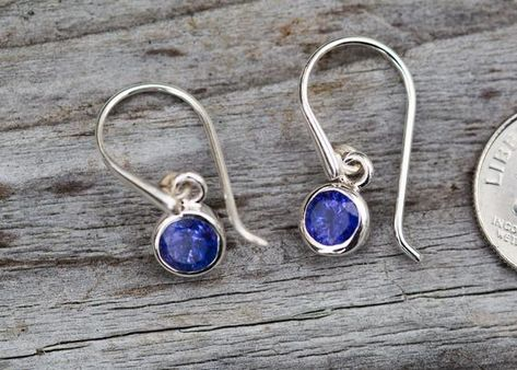 natural blue gemstone unique gift for her Modern round cabochon Lapis Lazuli clip on earrings with silver September December birthstone