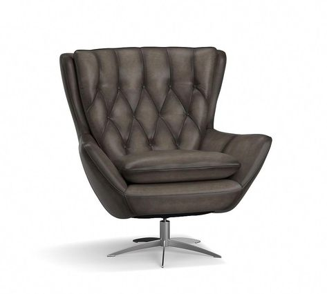 Wells Leather Swivel Armchair, Polyester Wrapped Cushions