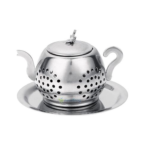 1pcs Silver Stainless Steel Glass TeaPot W// Tea Leaf Strainer Filter Infuser