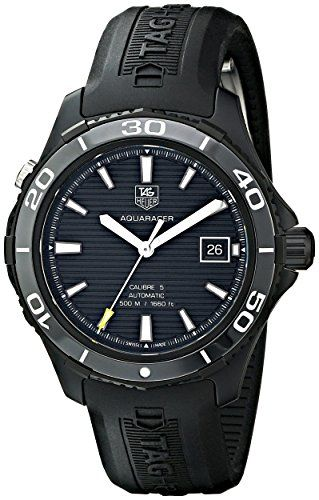TAG Heuer Mens WAK2180FT6027 Analog Display Automatic Self Wind Black Watch -- Click image for more details.