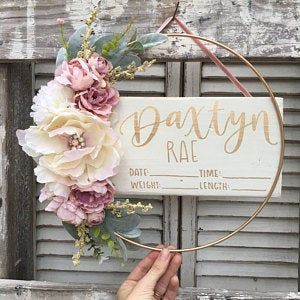 Birth Stat Floral Hoop Hospital Sign Birth Stat Sign Hospital Crib Sign Baby Girl Birth Sign Birth Announcement Sign New Baby Sign Floral Hoops New Baby Products Hospital Door Hanger Girl