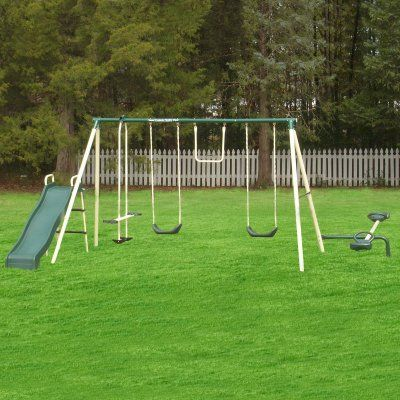 Metal Swing Sets With Slide Teeter Totter And Two Passenger Air