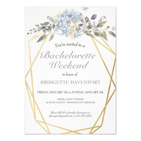 Winter Blue Floral Bachelorette Weekend Itinerary Invitation #affiliate , #Aff, #Bachelorette#Weekend#Itinerary#Floral