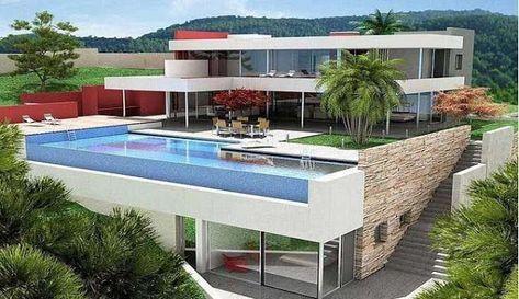 desain rumah mewah minimalis 2 lantai dengan kolam renang