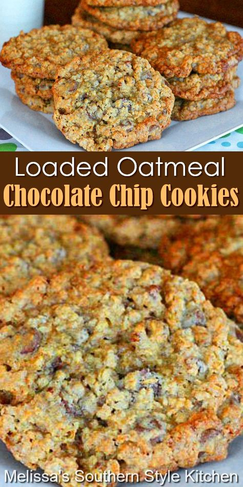 These loaded-up Oatmeal Chocolate Chip Cookies won't last long in your cookie jar #oatmealcookies #chocolatechipcookies #loadedoatmealcookies #oatmealchocolatechipscookies #cookies #cookierecipes #holidaybaking #christmascookies #southernfood #southernrecipes #chocolate Cookie Desserts, Just Desserts, Cookie Recipes, Delicious Desserts, Dessert Recipes, Yummy Food, Breakfast Recipes, Oatmeal Chocolate Chip Cookies, Toffee Cookies