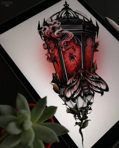 Skull and lantern tattoo design Flash Art Tattoos, Body Art Tattoos, New Tattoos, Sleeve Tattoos, Dragon Tattoos, Inspiration Tattoos, Tattoo Sketches, Tattoo Drawings, Tattoo Ink