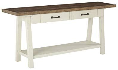 Ashley Furniture Signature Design Stowbranner Casual Sofa Table With Storage Two Tone Revi Farmhouse Console Table Ashley Furniture Sofa Table With Storage