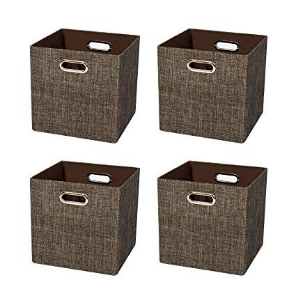 Posprica Collapsible Storage Cube Basket Bins Fabric Organizer Containers Divide Boxes For Shelf Drawers Cab Collapsible Storage Cubes Cube Storage Cubby Bins