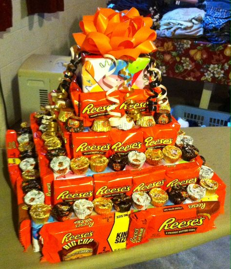 Diy Reese S Peanut Butter Cup Fake Cake That I Made With Floral Foam Wrapping Candy Birthday Cakes For Boyfriend