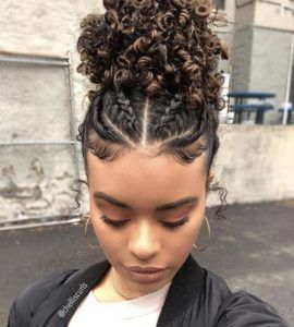 Natural Curly Braided Pineapple Hair Styles Natural Hair Styles Curly Hair Styles Naturally