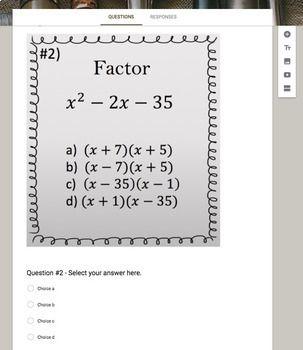 Factoring Polynomials X 2 Bx C Google Form Video Lesson Notes Google Forms Factoring Polynomials Google Classroom Math