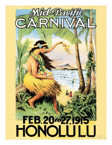 Mid Pacific Carnival Honolulu Hawaii 1915 Giclee Print Travel