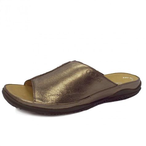 Gabor Idol Leather Wide Fit Casual Womens Mules