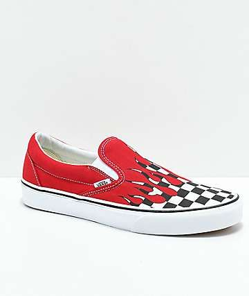 Vans Slip On Checkerboard Flame Red & White Skate Shoes in