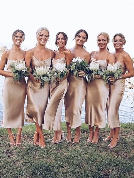 Bridesmaids in silk slip dresses. We have something similar in stock ;) bridesmaids Champagne silk bias slip dress Gold beige silk slip bridesmaids dress Silk clothing Sheryl slip dress Romantic date dress