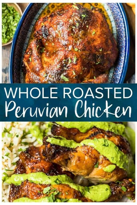 This Roasted Peruvian Chicken recipe delivers a delicious, juicy Peruvian-style roast chicken with a spicy and utterly addictive green sauce! Peruvian Dishes, Peruvian Cuisine, Peruvian Recipes, Grilled Steak Recipes, Roast Chicken Recipes, Peruvian Chicken, Peruvian Roasted Chicken Recipe, Stuffed Whole Chicken, Whole Roasted Chicken