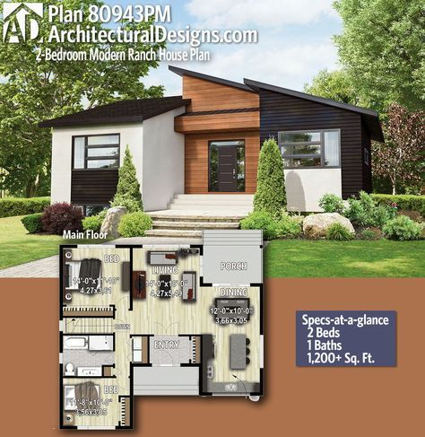 Plan 80943pm 2 Bedroom Modern Ranch House Plan Small Modern Home Ranch House Plans Modern House Plans